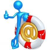 3D Character With Email In Lifebuoy