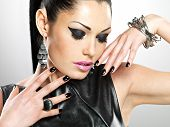 pic of brunete  - Beautiful fashion sexy woman with black nails at pretty face - JPG