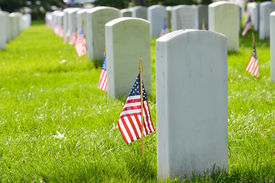 pic of headstones  - Arlington National Cemetery with a flag next to each headstone during Memorial day  - JPG