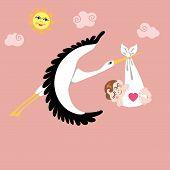 Stork With European Newborn Baby Girl Flying In Sky