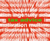 Tax Advice Words Mean Help And Recommendations On Paying Taxes