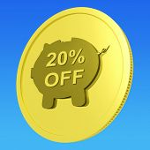Twenty Percent Off Coin Shows Price Cut 20