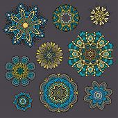 Set of ornamental Floral elements for design