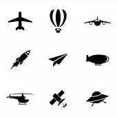 Vector black airplane icons set