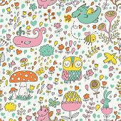 Bright childish seamless pattern with fairy forest, mushrooms, owl, birds, dragons, bees, rabbits, w
