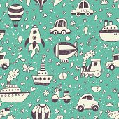 Cute retro seamless pattern with transportation objects. Vintage doodle background in vector with air-balloons, cars, plane, rocket, ships and boats. Great summer texture, travel time!