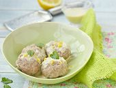 pic of boll  - meat bolls with lemon cream sauce in to the green dish - JPG