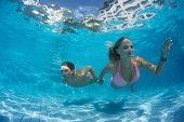 Young couple underwater shot in the swimming pool