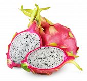 stock photo of dragon fruit  - Dragon fruit or pitaya with cut isolated on white background with clipping path - JPG