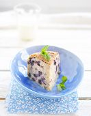 Blueberry Cake And Glass Of Milk
