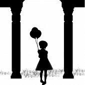 Silhouette Girl Balloons