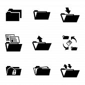 Vector black folder icons set