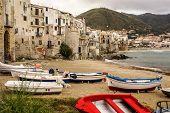 Sicilian Fishing Boat On The Beach In Cefalu, Sicily
