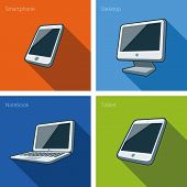 Screen Computer Devices Illustration With Smartphone, Laptop, Monitor Screen, Tablet, Mini Tablet