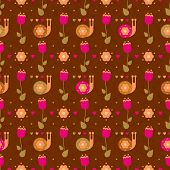 vector seamless flower pattern with snails