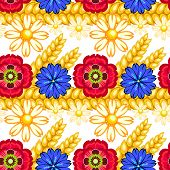 Cornflower, Camomile And Poppy Seamless Pattern