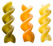 Uncooked Fusilli On White Background With Clipping Path