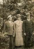 GERMANY, CIRCA 1940's: Vintage photo of three men in hats