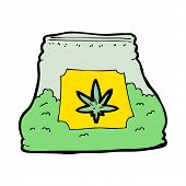 picture of weed  - cartoon bag of weed - JPG