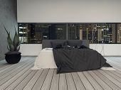 Modern bedroom interior at night