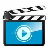 detailed illustration of a clapper board with play icon, eps10 vector