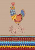 Easter card folk decorated bright chick typography