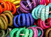 Colorful straw woven napkin rings close up