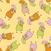 Seamless easter chicken hand drawn illustration background pattern in vector