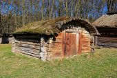 Traditional ukrainian wooden shed in village