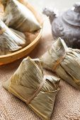 Asian Chinese tradition food - steamed rice dumpling with tea.