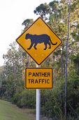 foto of panther  - A panther traffic crossing sign in The Everglades - JPG