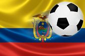 Soccer Ball Steaks Across Ecuador's Flag