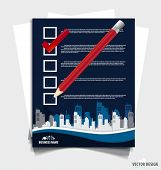 Note papers, A checklist with red marker and white checked boxes. Vector illustration.