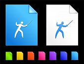 Fencing Icons on Colorful Paper Document Collection