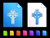 Cross Icons on Colorful Paper Document Collection