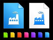 Factory Icons on Colorful Paper Document Collection