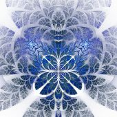 Fabulous Fractal Pattern In Blue. Collectiont - Tree Foliage. Computer Generated Graphics.