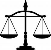stock photo of justice law  - Vector illustration of black  justice scales silhouette - JPG
