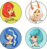 Cartoon Set of Zodiac Signs Sagittarius, Capricorn, Aquarius and Pisces Cute Girls