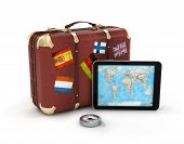 travel suitcase with tablet and map on screen isolated