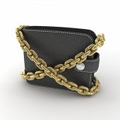 black wallet chained on an isolated white background