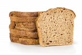 three pieces of bread isolated on white
