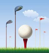 Golf ball on the background of blue sky. Editable vector illustration.