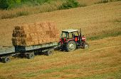 Tractor Collecting Straw In The Field