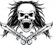 Long Hair Skull With Dagger