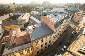 KRAKOW, POLAND - FEB 26, 2014: Top view of the roofs of the old town in the centre. It is second lar