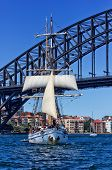 Tallship Soren Larsen and Sydney Harbour Bridge