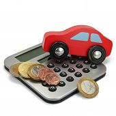 A red car with coins and calculator