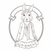 Fashion Illustration Of Rabbit, Black And White Line