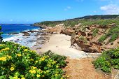 stock photo of tide  - Some of the caves at Caves Beach NSW Australia at low tide - JPG